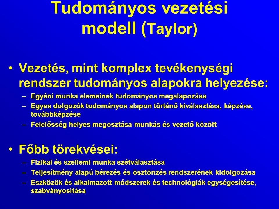 Tudományos vezetési modell ( Taylor) Vezetés, mint komplex tevékenységi rendszer tudományos alapokra helyezése: –Egyéni munka elemeinek tudományos meg