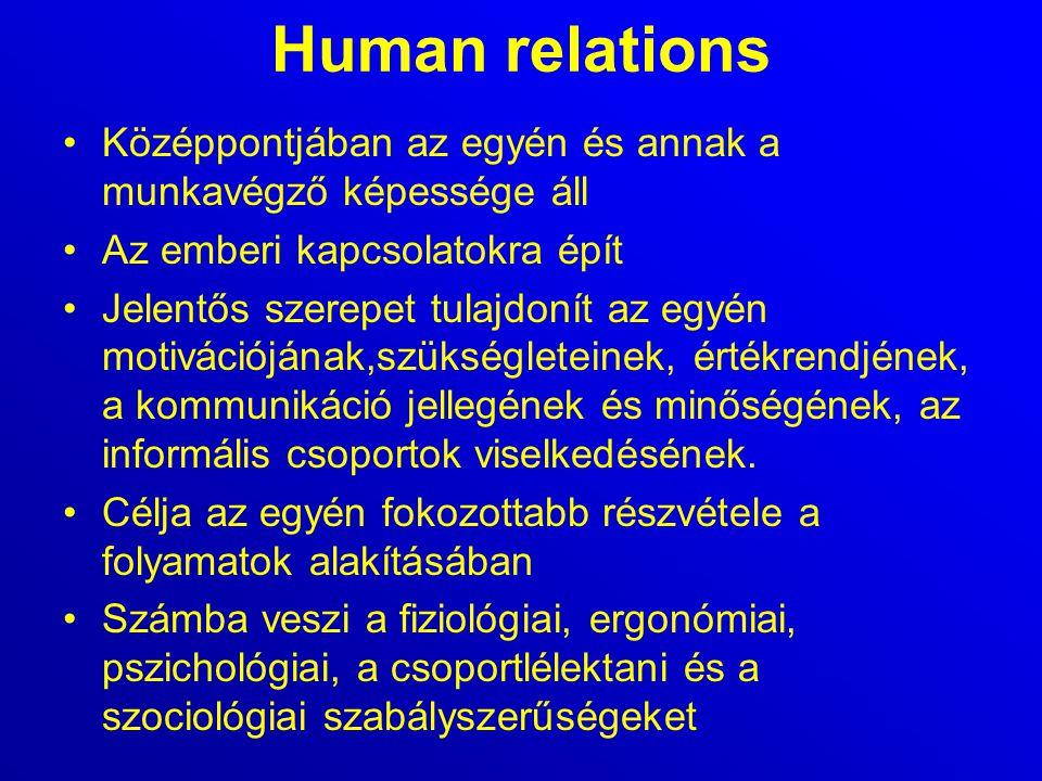 Human relations Középpontjában az egyén és annak a munkavégző képessége áll Az emberi kapcsolatokra épít Jelentős szerepet tulajdonít az egyén motivác