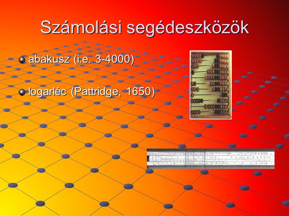 Számolási segédeszközök abakusz (i.e. 3-4000) logarléc (Pattridge, 1650)