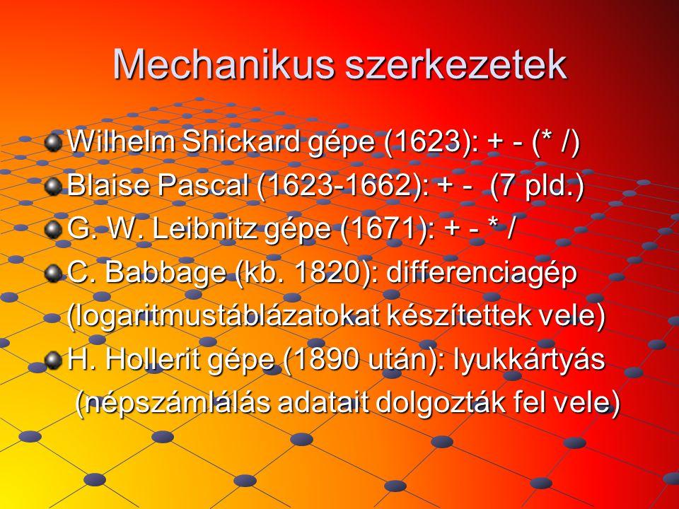 Mechanikus szerkezetek Wilhelm Shickard gépe (1623): + - (* /) Blaise Pascal (1623-1662): + - (7 pld.) G. W. Leibnitz gépe (1671): + - * / C. Babbage