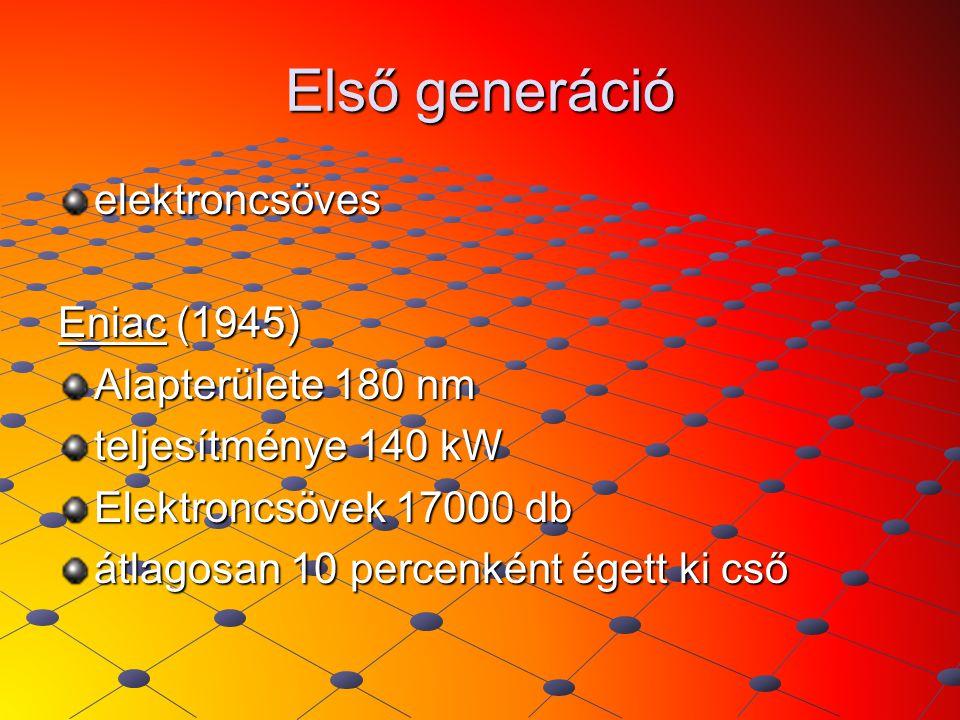 Első generáció elektroncsöves Eniac (1945) Alapterülete 180 nm teljesítménye 140 kW Elektroncsövek 17000 db átlagosan 10 percenként égett ki cső
