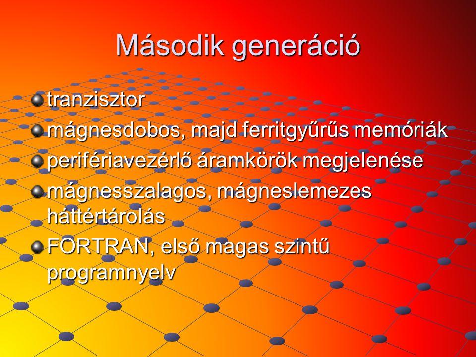 Második generáció tranzisztor mágnesdobos, majd ferritgyűrűs memóriák perifériavezérlő áramkörök megjelenése mágnesszalagos, mágneslemezes háttértárol