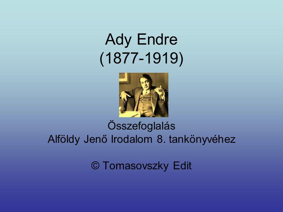 Ady Endre (1877-1919) Összefoglalás Alföldy Jenő Irodalom 8. tankönyvéhez © Tomasovszky Edit