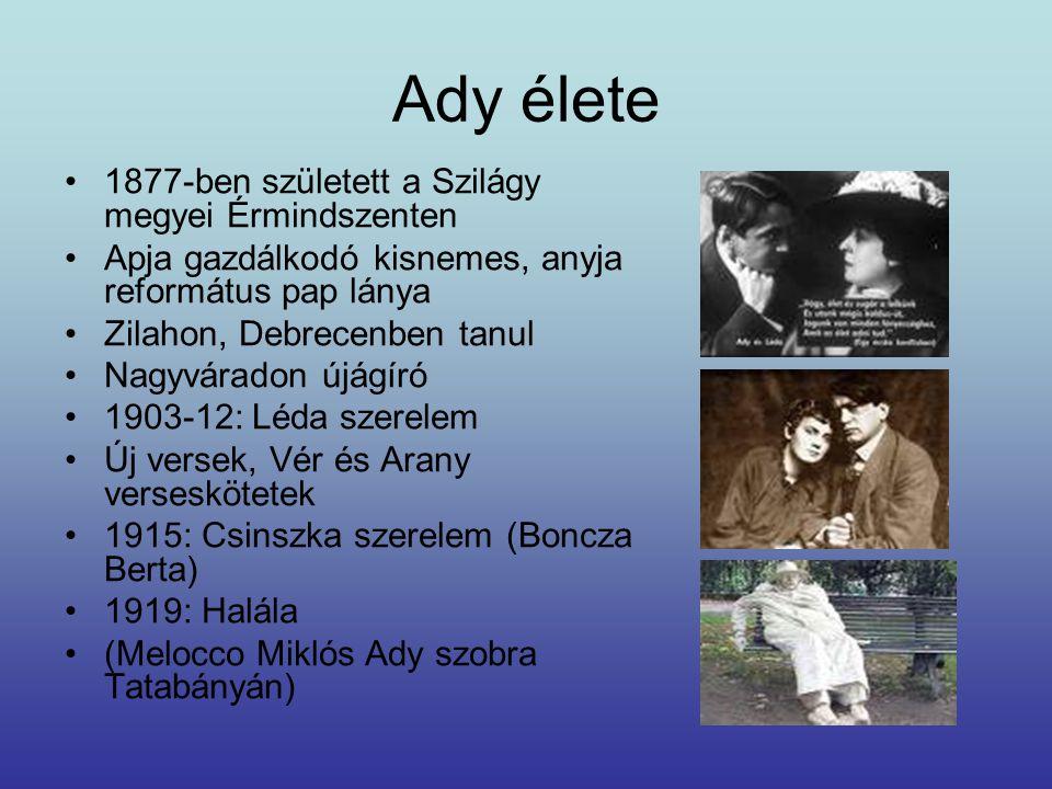 Ady élete 1877-ben született a Szilágy megyei Érmindszenten Apja gazdálkodó kisnemes, anyja református pap lánya Zilahon, Debrecenben tanul Nagyvárado