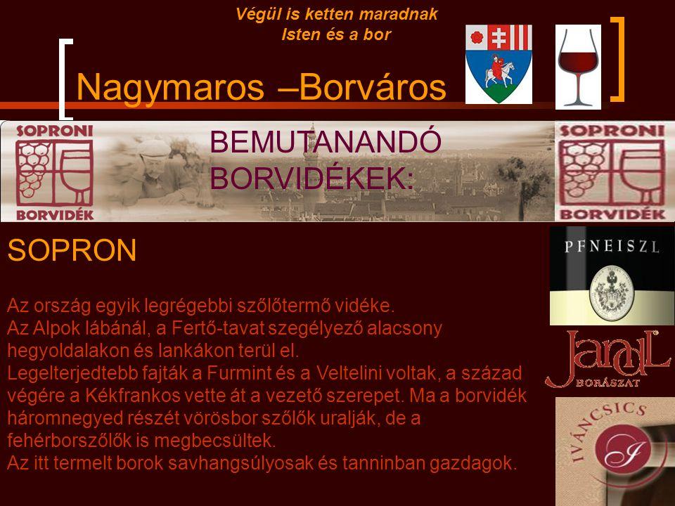 Nagymaros –Borváros Végül is ketten maradnak Isten és a bor Tokaj Hegyalja Magyarország legelső borvidéke. Sajátos háromszög alakú fekvése Tokaj-Abaúj