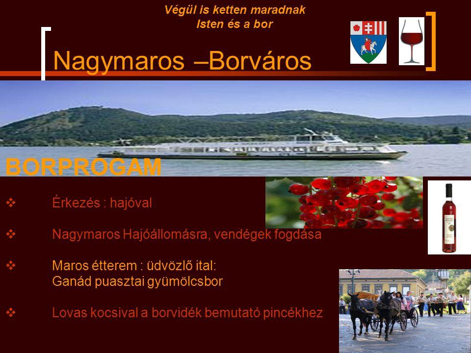 Nagymaros –Borváros Végül is ketten maradnak Isten és a bor Az Egri borvidék területe 5163 ha, éghajlata hűvös, száraz, az ősz hosszú, a tavasz későn
