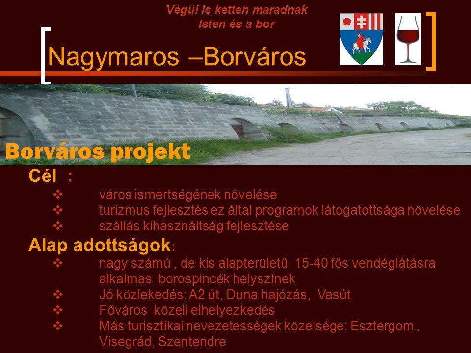 Nagymaros –Borváros Végül is ketten maradnak Isten és a bor Borváros projekt Cél :  város ismertségének növelése  turizmus fejlesztés ez által programok látogatottsága növelése  szállás kihasználtság fejlesztése Alap adottságok :  nagy számú, de kis alapterületű 15-40 fős vendéglátásra alkalmas borospincék helyszínek  Jó közlekedés: A2 út, Duna hajózás, Vasút  Főváros közeli elhelyezkedés  Más turisztikai nevezetességek közelsége: Esztergom, Visegrád, Szentendre