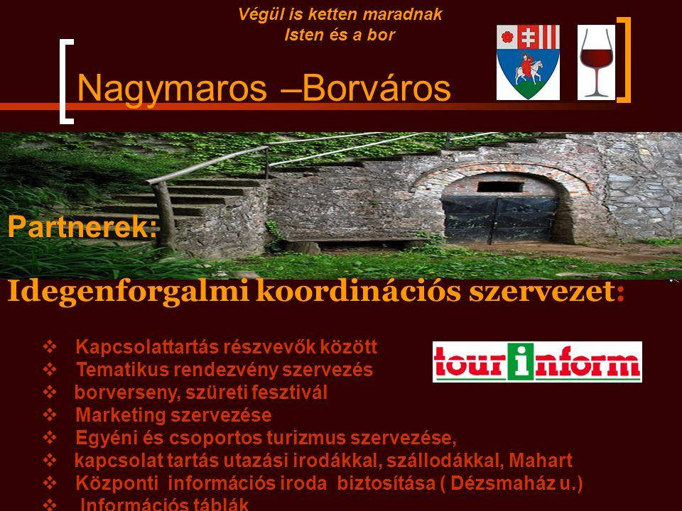 Nagymaros –Borváros Partnerek: Önkormányzat: turisztikai fejlesztések keretében marketing források biztosítása  rendezvények szervezése,  kiállításo