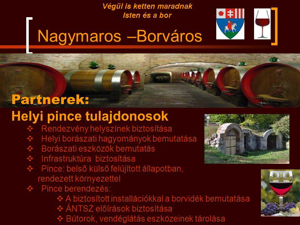 Nagymaros –Borváros Partnerek: Borvidékek borászatai:  Márkanév  Know-how  Kínálható és árusítható borok biztosítása  borvidéket bemutató installá