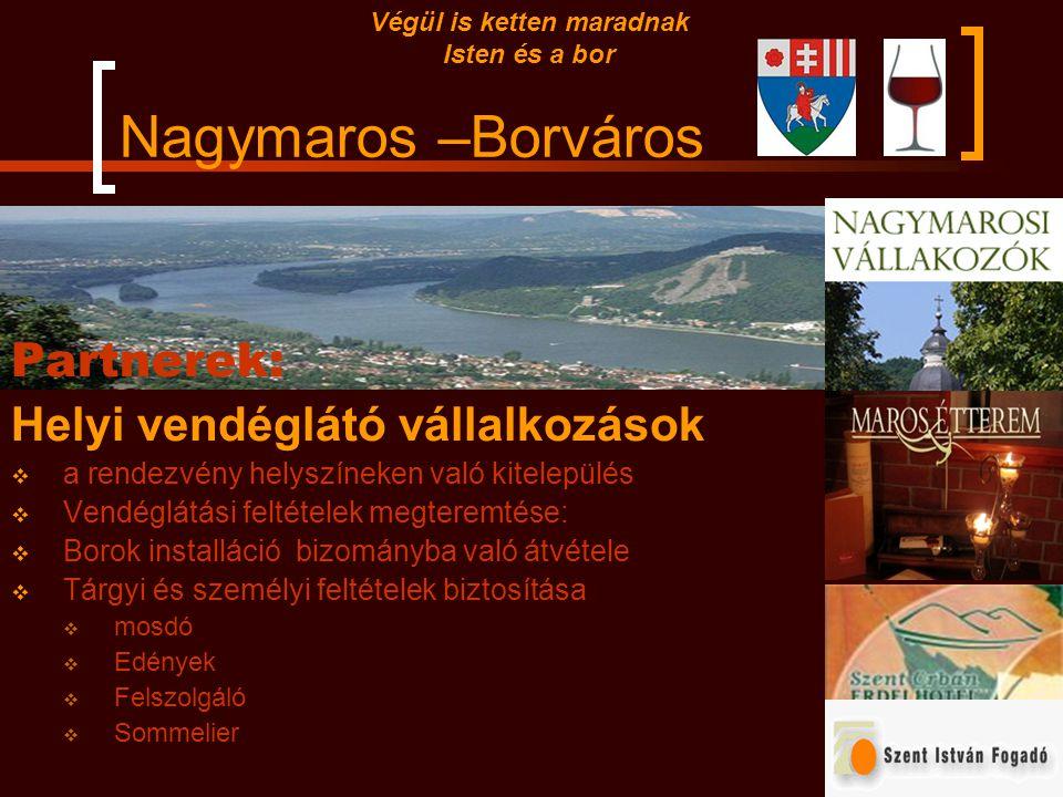 Nagymaros –Borváros Partnerek: Helyi pince tulajdonosok  Rendezvény helyszínek biztosítása  Helyi borászati hagyományok bemutatása  Borászati eszkö