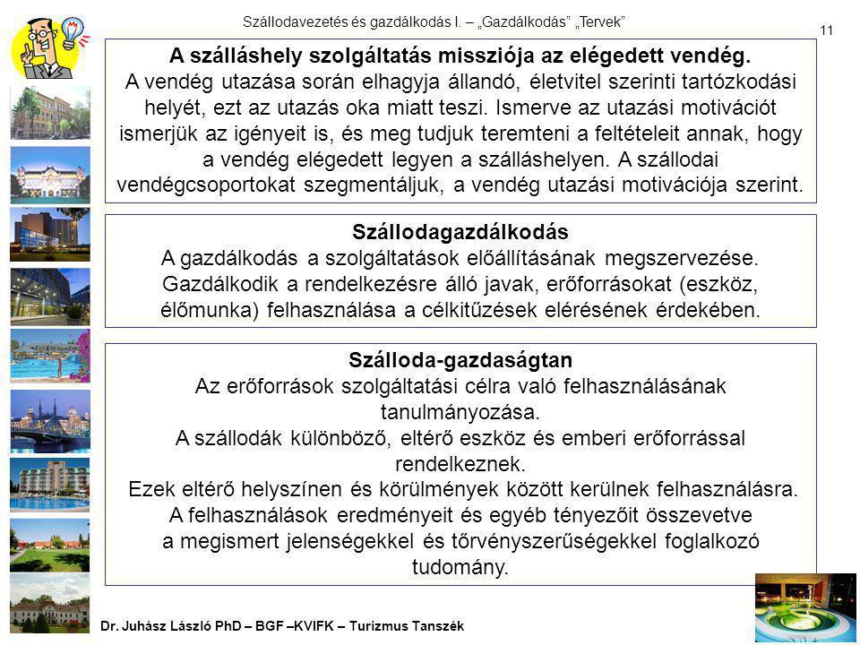 """Szállodavezetés és gazdálkodás I. – """"Gazdálkodás"""" """"Tervek"""" Dr. Juhász László PhD – BGF –KVIFK – Turizmus Tanszék 10 8. """"Megvalósíthatósági Terv"""" """"Önel"""