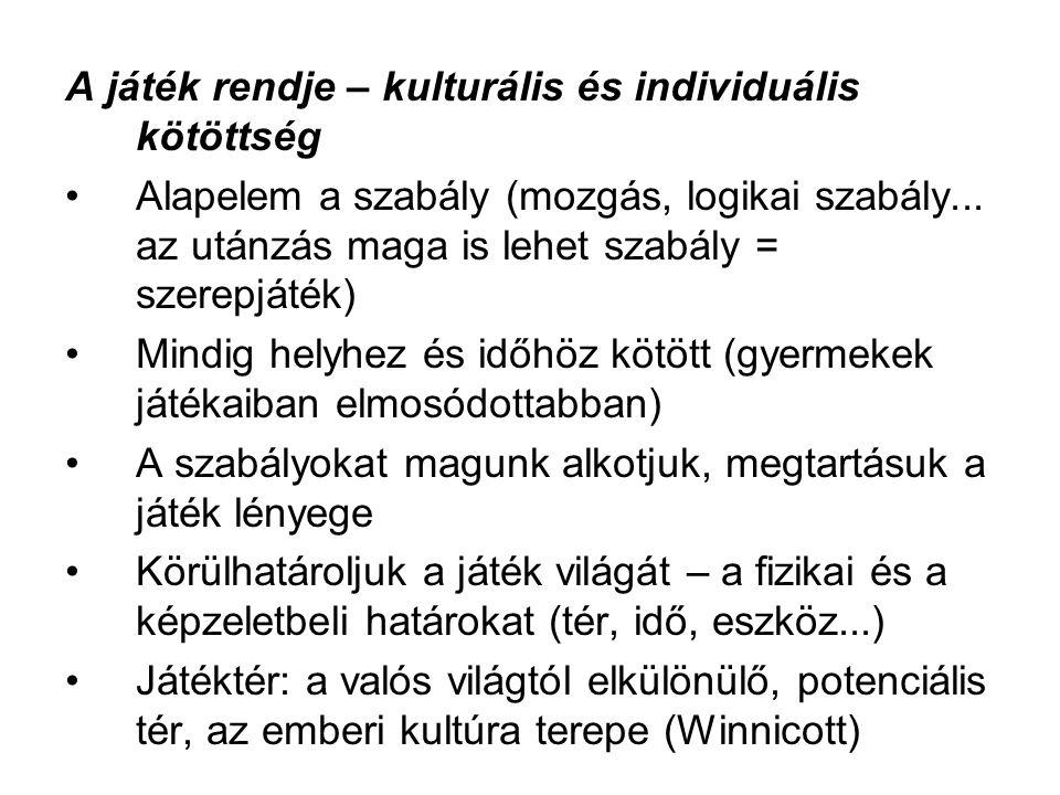 A játék rendje – kulturális és individuális kötöttség Alapelem a szabály (mozgás, logikai szabály... az utánzás maga is lehet szabály = szerepjáték) M