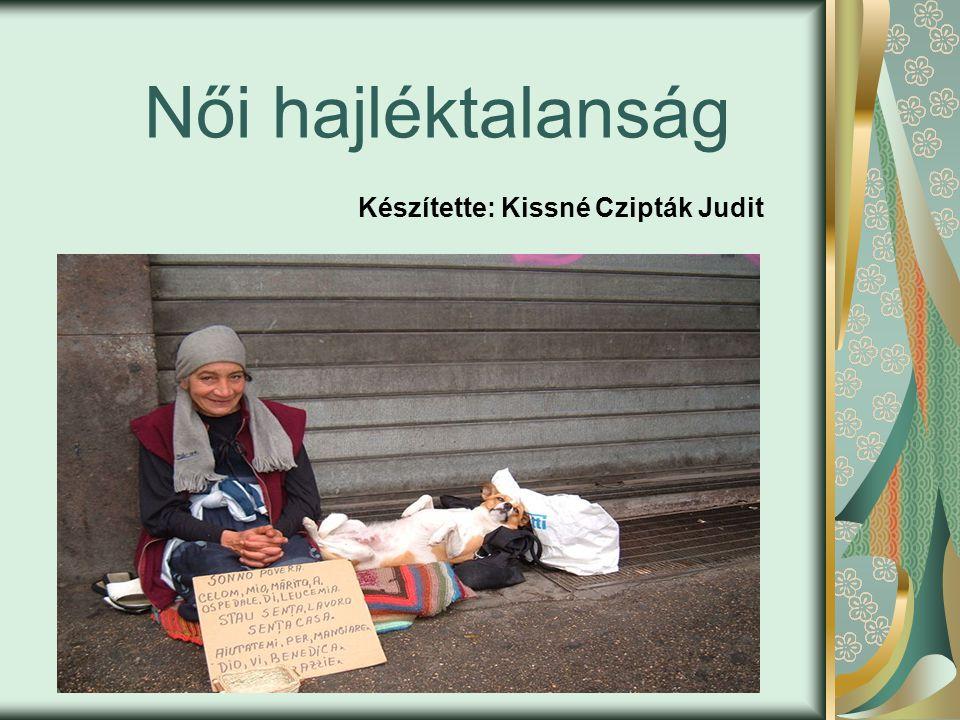 Női hajléktalanság Készítette: Kissné Czipták Judit