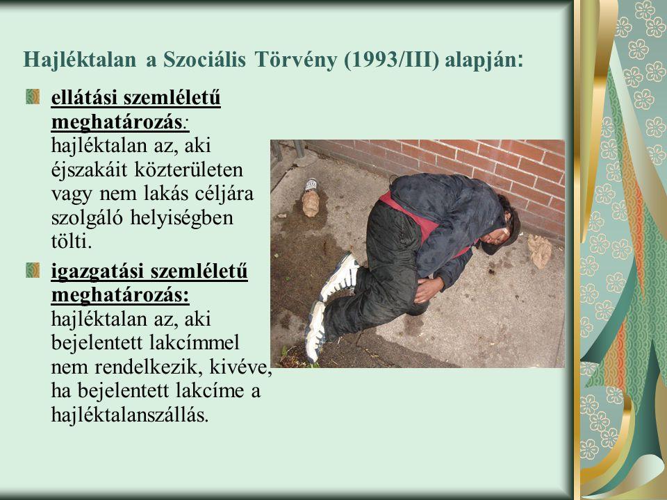 Hajléktalan a Szociális Törvény (1993/III) alapján : ellátási szemléletű meghatározás: hajléktalan az, aki éjszakáit közterületen vagy nem lakás céljára szolgáló helyiségben tölti.