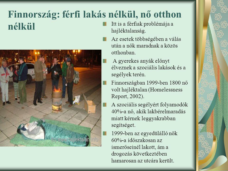 Finnország: férfi lakás nélkül, nő otthon nélkül Itt is a férfiak problémája a hajléktalanság.