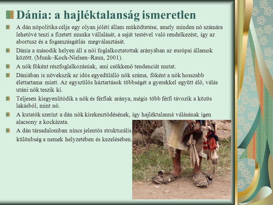 Dánia: a hajléktalanság ismeretlen A dán nőpolitika célja egy olyan jóléti állam működtetése, amely minden nő számára lehetővé teszi a fizetett munka vállalását, a saját testével való rendelkezést, így az abortusz és a fogamzásgátlás megválasztását.