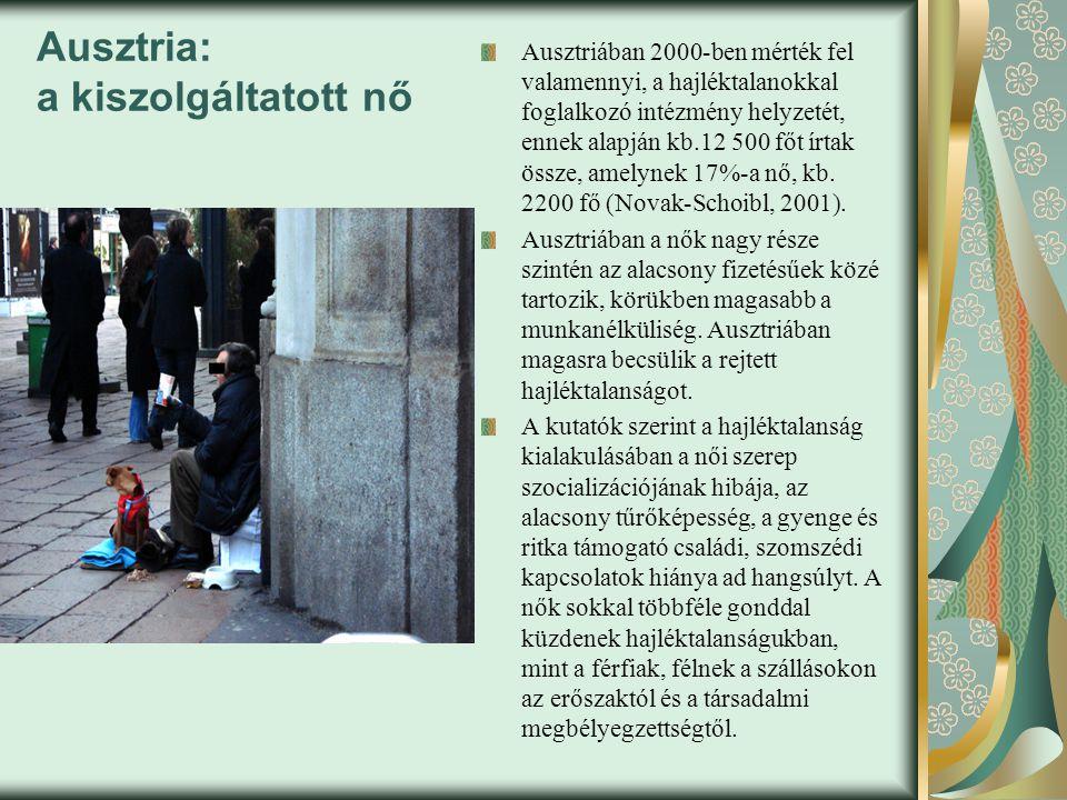 Ausztria: a kiszolgáltatott nő Ausztriában 2000-ben mérték fel valamennyi, a hajléktalanokkal foglalkozó intézmény helyzetét, ennek alapján kb.12 500 főt írtak össze, amelynek 17%-a nő, kb.