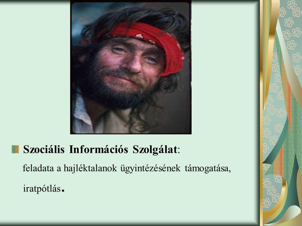 Szociális Információs Szolgálat: feladata a hajléktalanok ügyintézésének támogatása, iratpótlás.