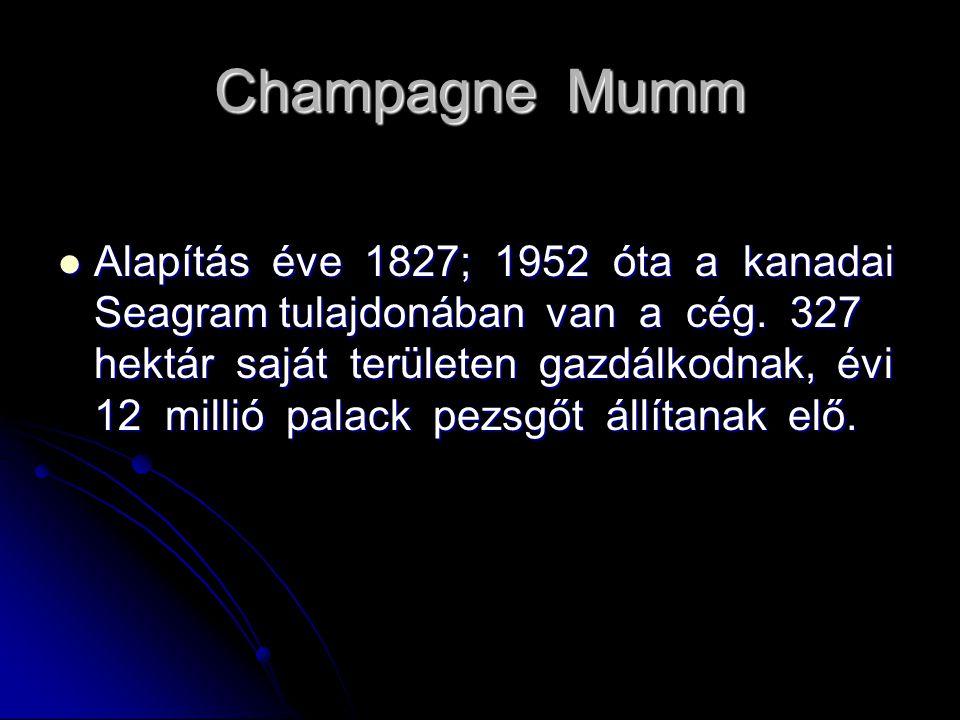 Champagne Mumm Alapítás éve 1827; 1952 óta a kanadai Seagram tulajdonában van a cég. 327 hektár saját területen gazdálkodnak, évi 12 millió palack pez