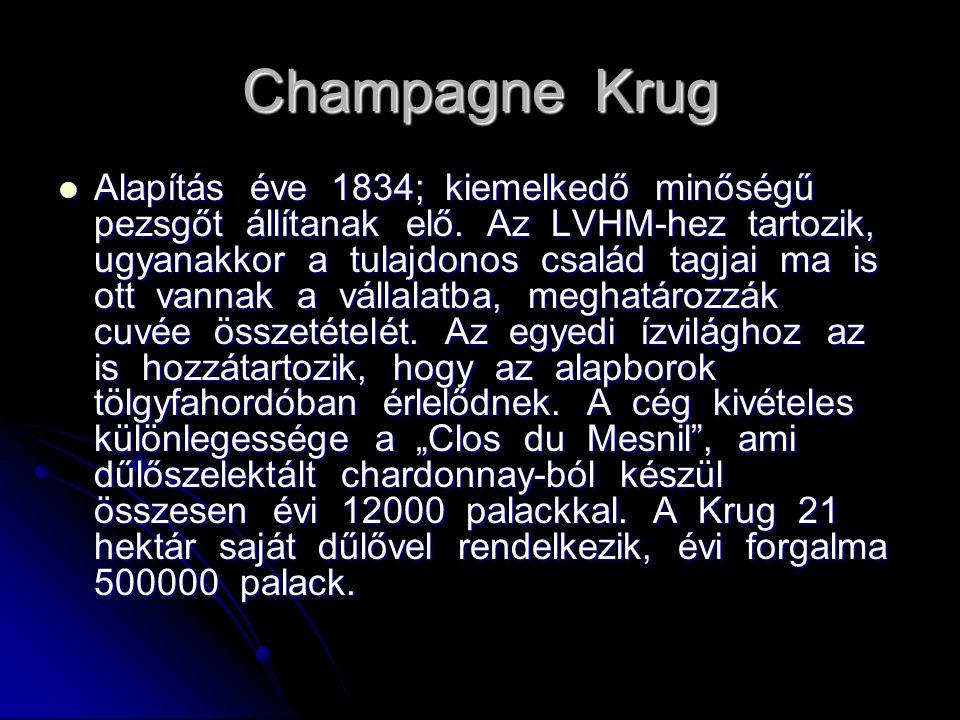 Champagne Krug Alapítás éve 1834; kiemelkedő minőségű pezsgőt állítanak elő. Az LVHM-hez tartozik, ugyanakkor a tulajdonos család tagjai ma is ott van
