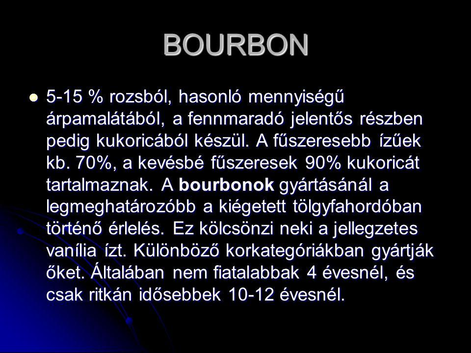 BOURBON 5-15 % rozsból, hasonló mennyiségű árpamalátából, a fennmaradó jelentős részben pedig kukoricából készül. A fűszeresebb ízűek kb. 70%, a kevés