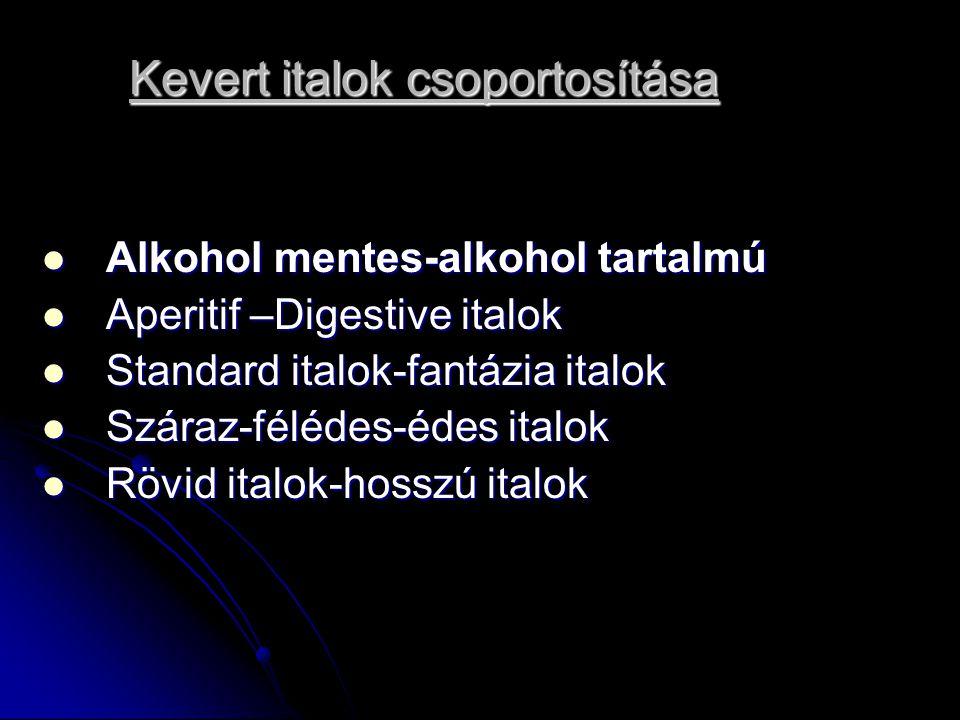 Kevert italok csoportosítása Alkohol mentes-alkohol tartalmú Alkohol mentes-alkohol tartalmú Aperitif –Digestive italok Aperitif –Digestive italok Standard italok-fantázia italok Standard italok-fantázia italok Száraz-félédes-édes italok Száraz-félédes-édes italok Rövid italok-hosszú italok Rövid italok-hosszú italok