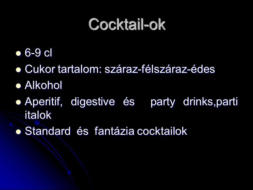 Cocktail-ok 6-9 cl 6-9 cl Cukor tartalom: száraz-félszáraz-édes Cukor tartalom: száraz-félszáraz-édes Alkohol Alkohol Aperitif, digestive és party drinks,parti italok Aperitif, digestive és party drinks,parti italok Standard és fantázia cocktailok Standard és fantázia cocktailok