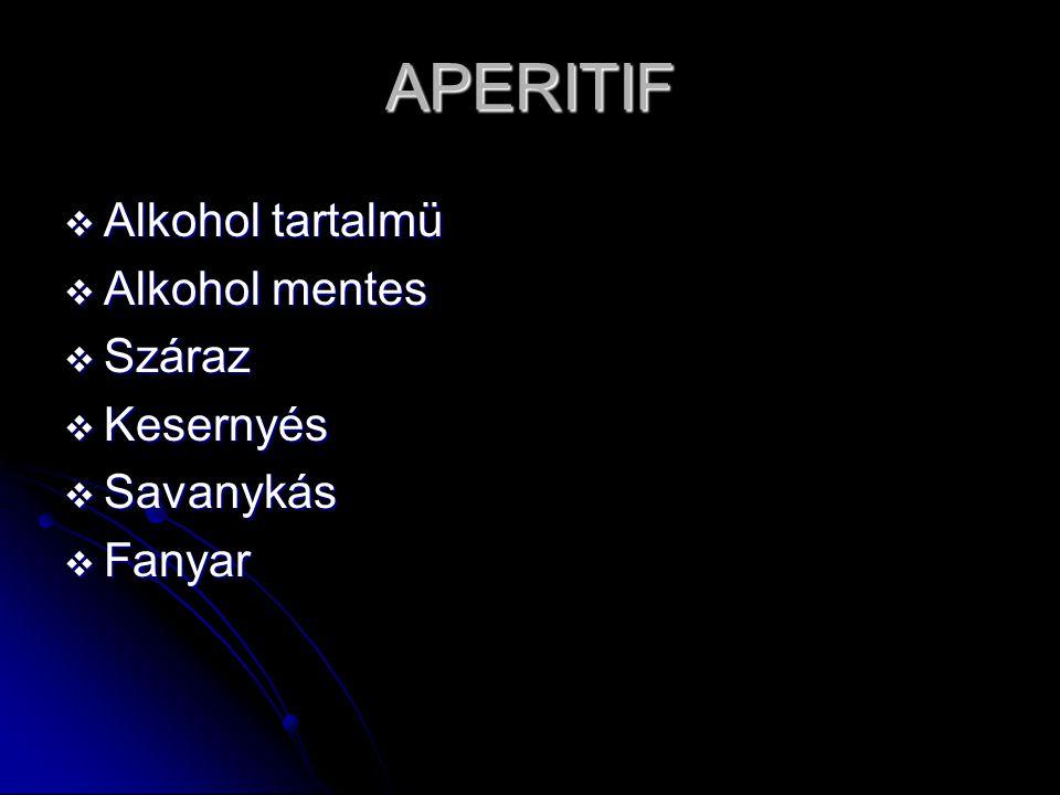 APERITIF  Egyszer,egy fajta  Első ÉTVÁGYGERJESZTŐ  Második ÉTVÁGYRONTÓ  Harmadok ROSSZ KÖZÉRZET  Negyedik K.O.