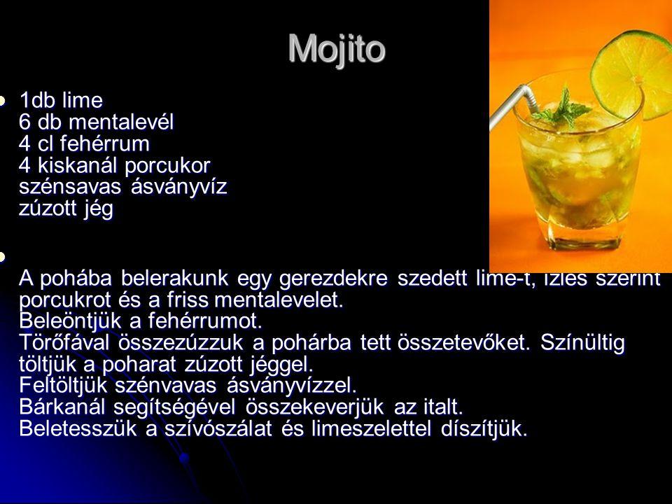 Mojito 1db lime 6 db mentalevél 4 cl fehérrum 4 kiskanál porcukor szénsavas ásványvíz zúzott jég 1db lime 6 db mentalevél 4 cl fehérrum 4 kiskanál por