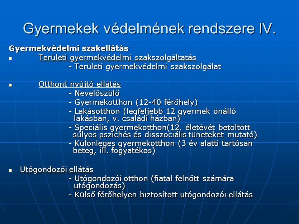 Gyermekek védelmének rendszere IV. Gyermekvédelmi szakellátás Területi gyermekvédelmi szakszolgáltatás Területi gyermekvédelmi szakszolgáltatás - Terü