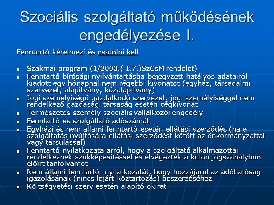 Szociális szolgáltató működésének engedélyezése I. Fenntartó kérelmezi és csatolni kell Szakmai program (1/2000.( I.7.)SzCsM rendelet) Szakmai program