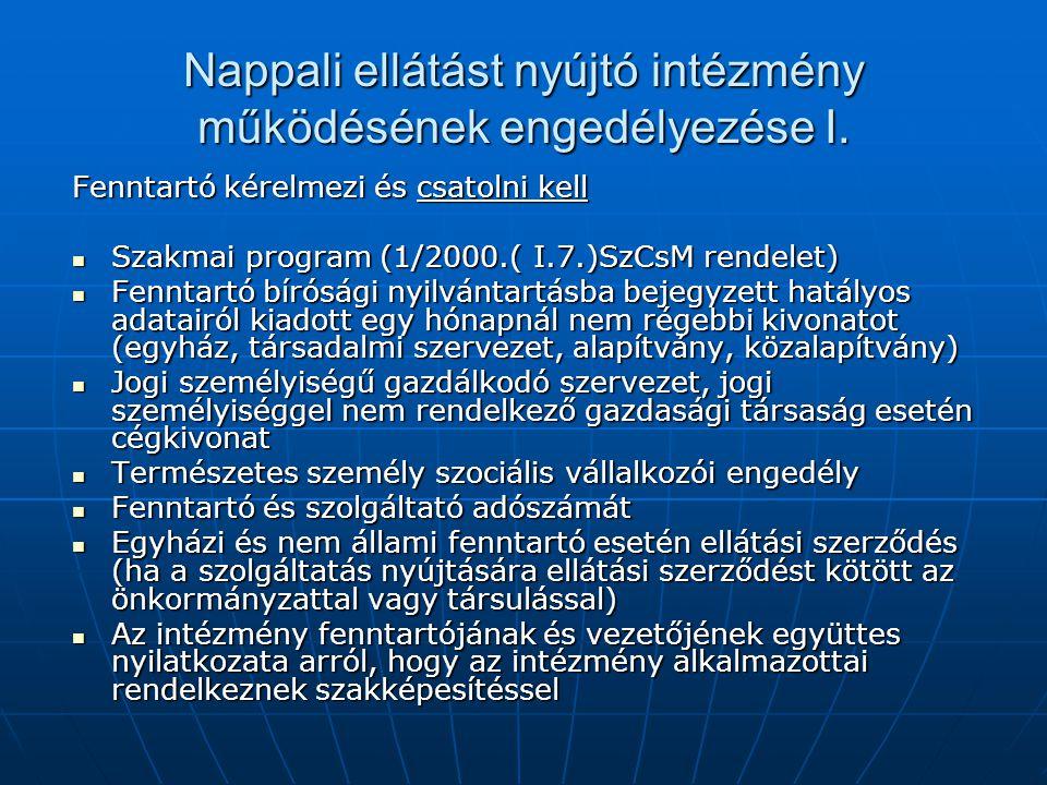Nappali ellátást nyújtó intézmény működésének engedélyezése I. Fenntartó kérelmezi és csatolni kell Szakmai program (1/2000.( I.7.)SzCsM rendelet) Sza