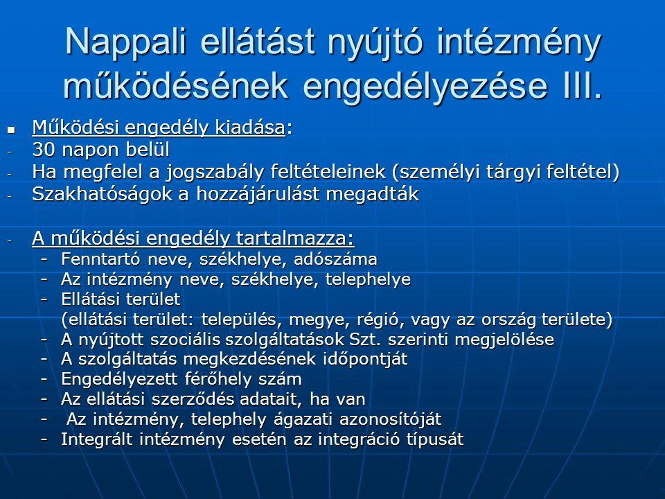 Nappali ellátást nyújtó intézmény működésének engedélyezése III. Működési engedély kiadása: Működési engedély kiadása: - 30 napon belül - Ha megfelel