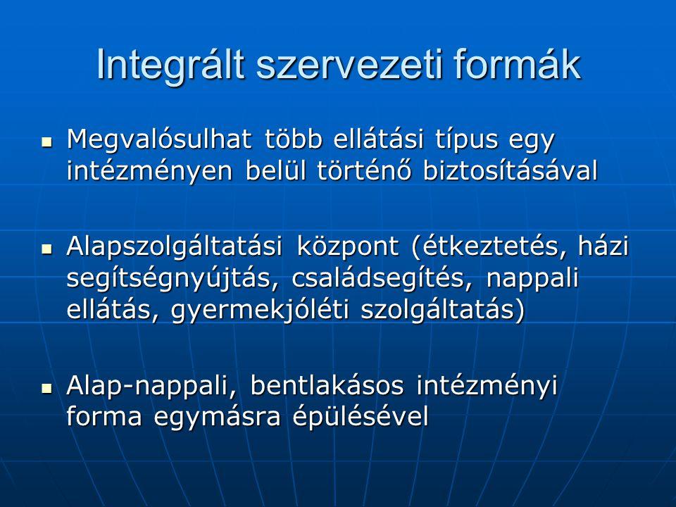 Integrált szervezeti formák Megvalósulhat több ellátási típus egy intézményen belül történő biztosításával Megvalósulhat több ellátási típus egy intéz