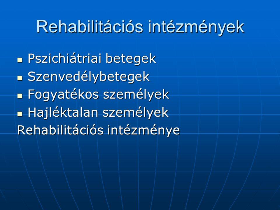 Rehabilitációs intézmények Pszichiátriai betegek Pszichiátriai betegek Szenvedélybetegek Szenvedélybetegek Fogyatékos személyek Fogyatékos személyek H