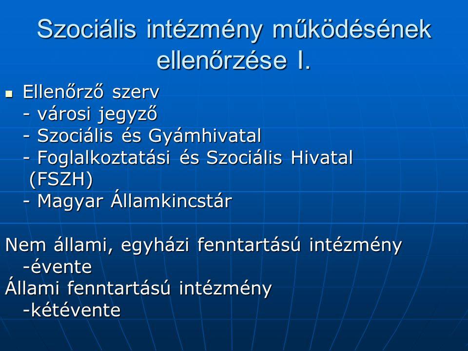 Szociális intézmény működésének ellenőrzése I. Ellenőrző szerv Ellenőrző szerv - városi jegyző - Szociális és Gyámhivatal - Foglalkoztatási és Szociál