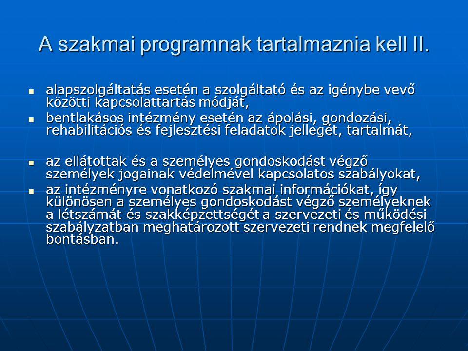 A szakmai programnak tartalmaznia kell II. alapszolgáltatás esetén a szolgáltató és az igénybe vevő közötti kapcsolattartás módját, alapszolgáltatás e