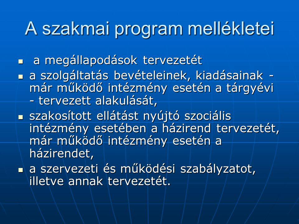 A szakmai program mellékletei a megállapodások tervezetét a megállapodások tervezetét a szolgáltatás bevételeinek, kiadásainak - már működő intézmény