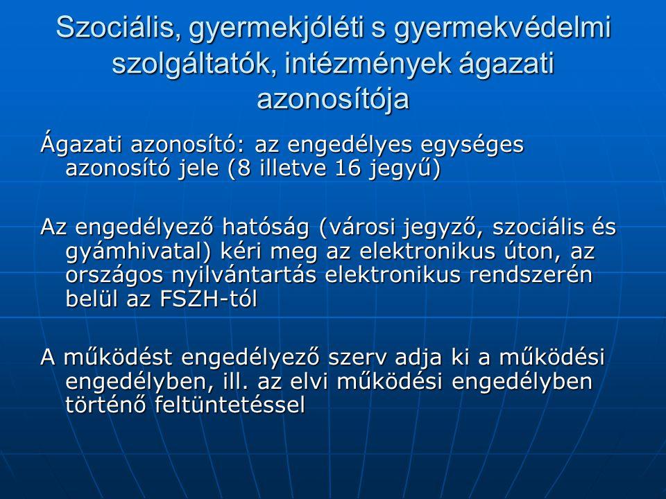 Szociális, gyermekjóléti s gyermekvédelmi szolgáltatók, intézmények ágazati azonosítója Ágazati azonosító: az engedélyes egységes azonosító jele (8 il