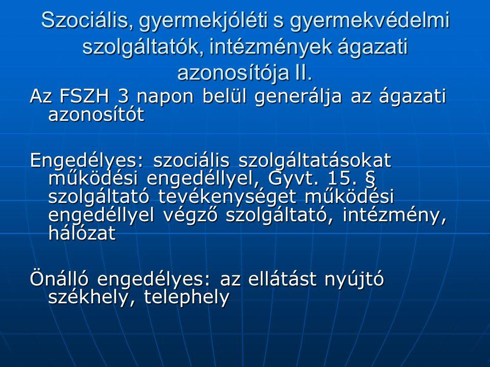 Szociális, gyermekjóléti s gyermekvédelmi szolgáltatók, intézmények ágazati azonosítója II. Az FSZH 3 napon belül generálja az ágazati azonosítót Enge