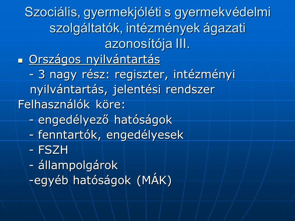 Szociális, gyermekjóléti s gyermekvédelmi szolgáltatók, intézmények ágazati azonosítója III. Országos nyilvántartás Országos nyilvántartás - 3 nagy ré