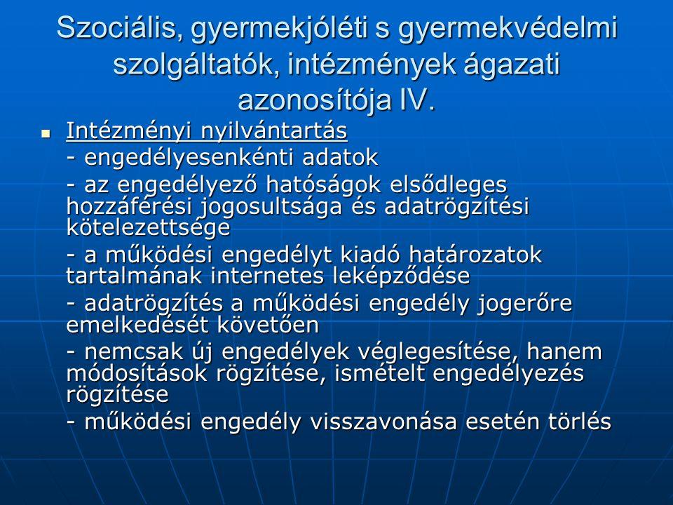 Szociális, gyermekjóléti s gyermekvédelmi szolgáltatók, intézmények ágazati azonosítója IV. Intézményi nyilvántartás Intézményi nyilvántartás - engedé