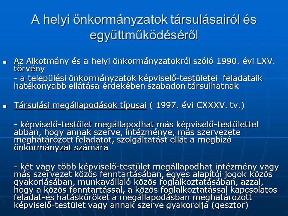 A helyi önkormányzatok társulásairól és együttműködéséről Az Alkotmány és a helyi önkormányzatokról szóló 1990. évi LXV. törvény Az Alkotmány és a hel
