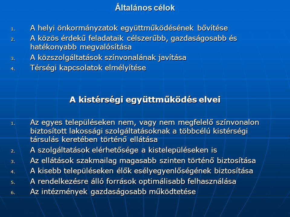 Általános célok 1. A helyi önkormányzatok együttműködésének bővítése 2. A közös érdekű feladataik célszerűbb, gazdaságosabb és hatékonyabb megvalósítá