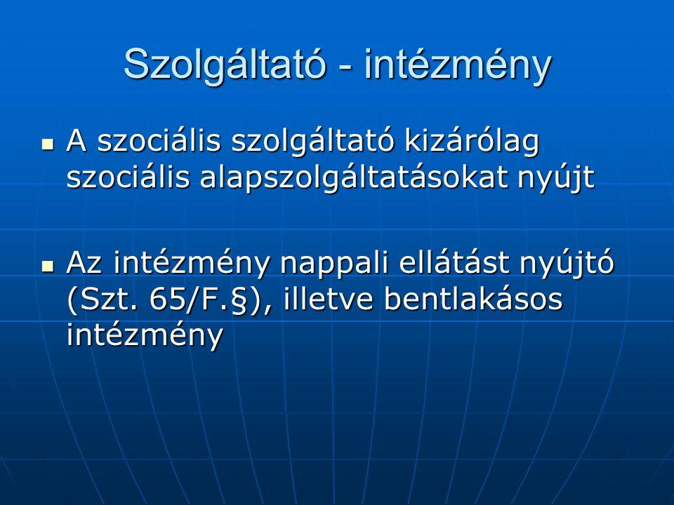 Szolgáltató - intézmény A szociális szolgáltató kizárólag szociális alapszolgáltatásokat nyújt A szociális szolgáltató kizárólag szociális alapszolgál