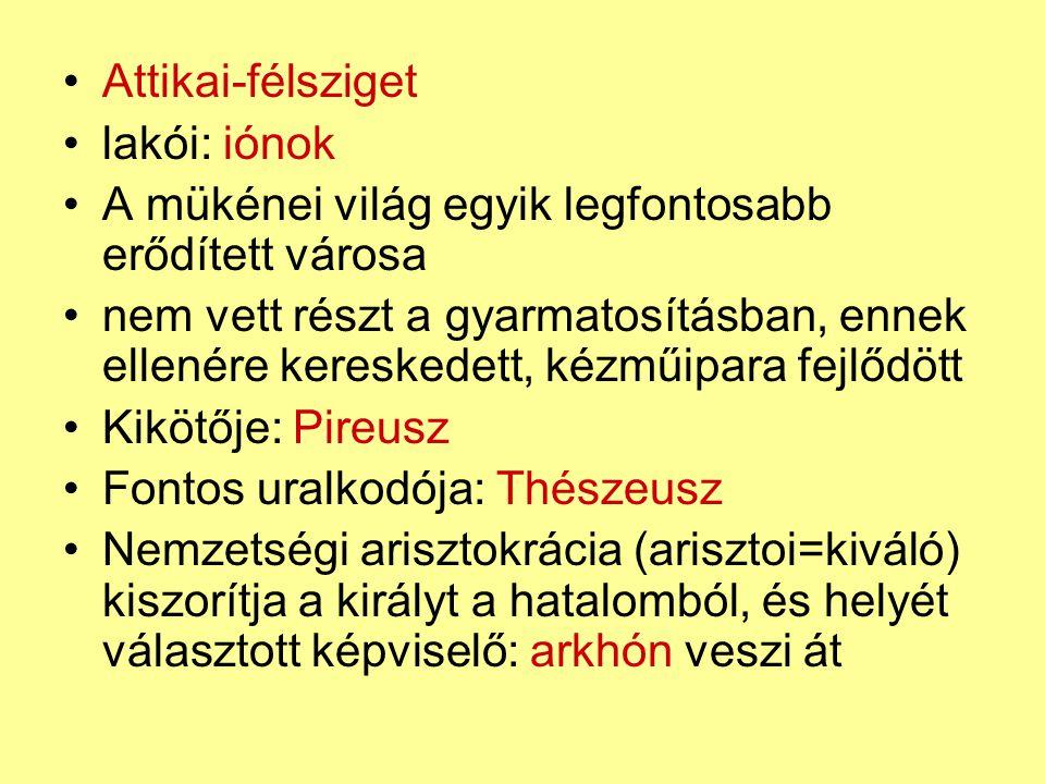 Areioszpagosz volt arkhónok tanácsának feladata a tisztviselők ellenőrzésére szűkült Sztratégosz (katonai vezető) nem sorsolták, hanem választották állam tényleges vezetője (10 fő) 1 éves hivatali idejük többször meghosszabbítható a többi tisztséggel ellentétben