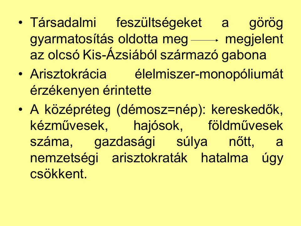 Cserépszavazás (osztrakiszmosz) zsarnokság újjáéledésének megakadályozása ha valakiről úgy gondolták, hogy zsarnokságra tör, cserépszavazással 10 évre elűzhették Athénból (vagyona megmaradt) 6000 szavazat kellett, hogy a szavazás érvényes legyen