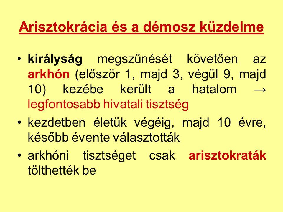 Arisztokrácia és a démosz küzdelme királyság megszűnését követően az arkhón (először 1, majd 3, végül 9, majd 10) kezébe került a hatalom → legfontosa