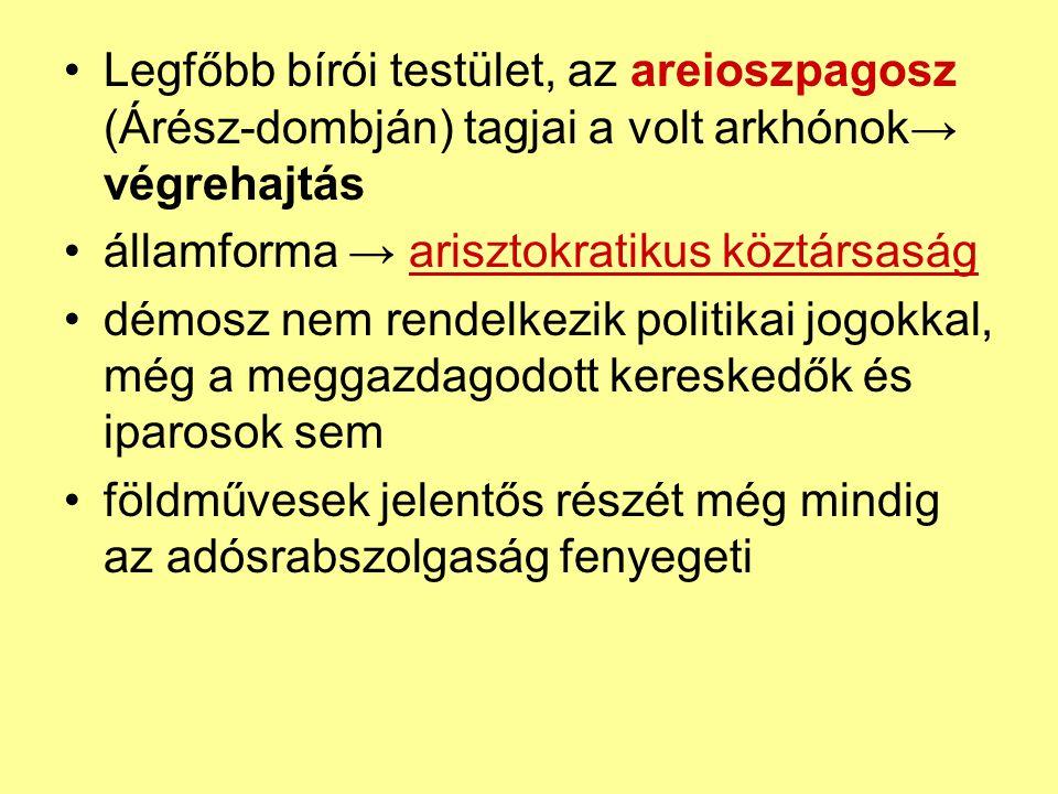 A Türannisz = zsarnokuralom (Kr.e 560- 510.) A probléma, hogy az arisztokraták elvesztik egyedi jogaikat, a démosz pedig keveselte azt hatalmi űr » egyes politikusok egyeduralomra törnek türannisz: zsarnokság, türannosz: zsarnok Peiszisztratosz (560-527) támogatta a démoszt (arisztokrata származású) magához ragadta a hatalmat → zsarnokság (türannisz) ellenálló arisztokraták földjeit (megöltek v.