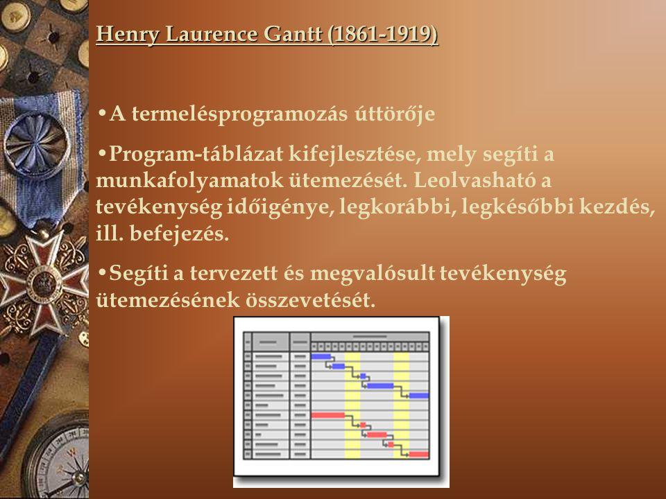 Henry Laurence Gantt (1861-1919) A termelésprogramozás úttörője Program-táblázat kifejlesztése, mely segíti a munkafolyamatok ütemezését.